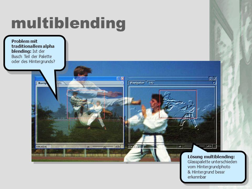multiblending Lösung multiblending: Glasspalette unterschieden vom Hintergrundphoto & Hintergrund bessr erkennbar Problem mit traditionallem alpha ble