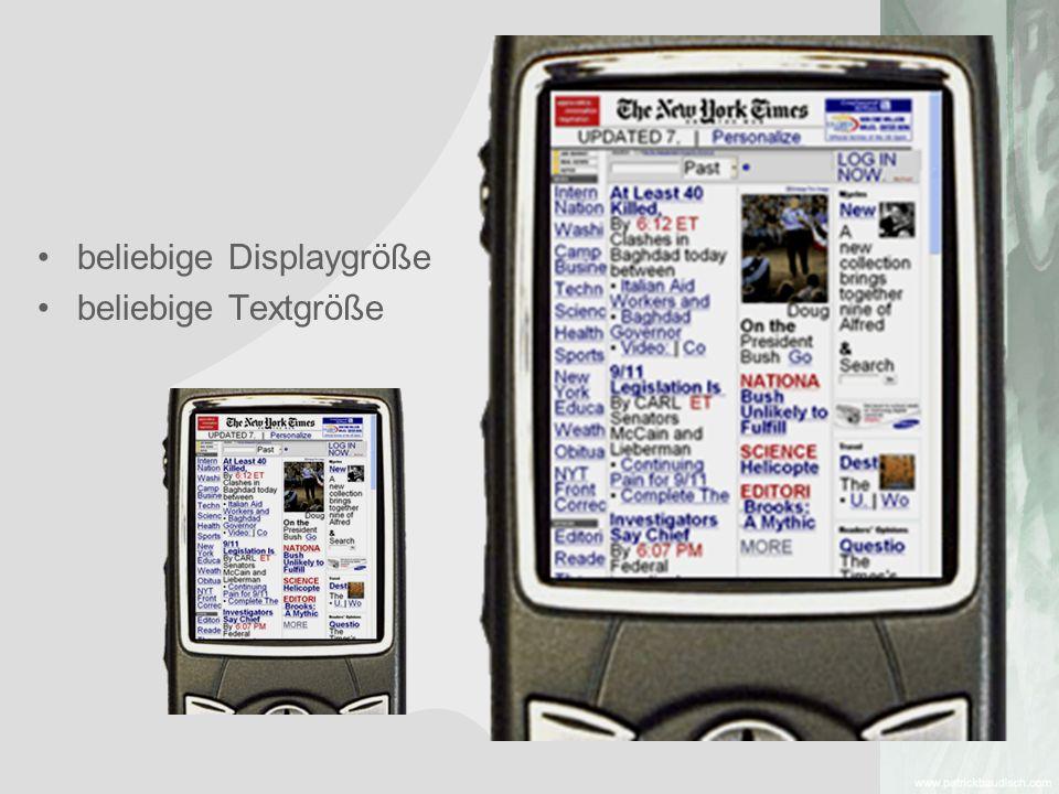 beliebige Displaygröße beliebige Textgröße