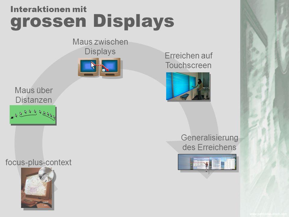 focus-plus-context Maus zwischen Displays Erreichen auf Touchscreen Generalisierung des Erreichens Maus über Distanzen Interaktionen mit grossen Displ