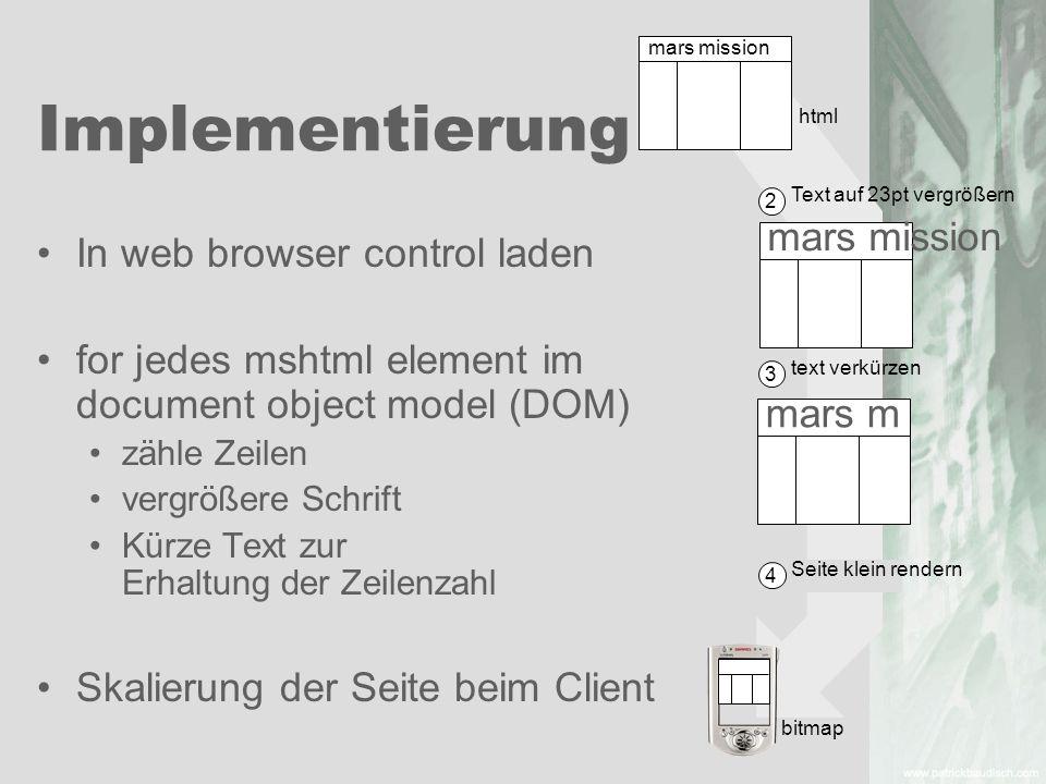 Implementierung Text auf 23pt vergrößern 2 text verkürzen 3 Seite klein rendern 4 mars mission mars m bitmap html In web browser control laden for jed