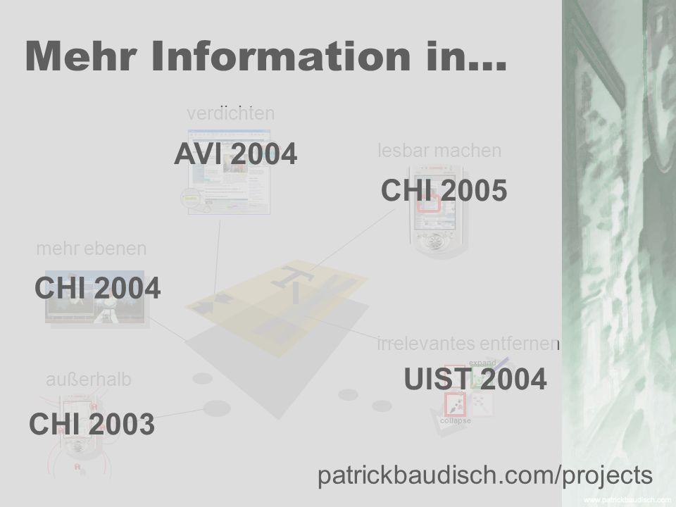 außerhalb verdichten lesbar machen irrelevantes entfernen mehr ebenen Mehr Information in… collapse expand CHI 2003 CHI 2004 UIST 2004 CHI 2005 AVI 20