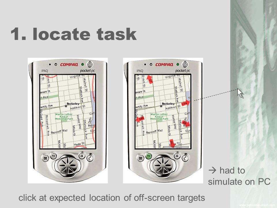 1. locate task click at expected location of off-screen targets had to simulate on PC