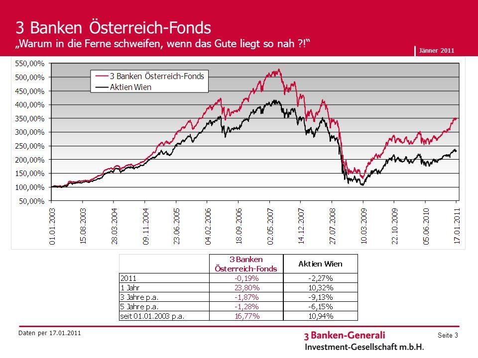 Jänner 2011 Seite 3 3 Banken Österreich-Fonds Warum in die Ferne schweifen, wenn das Gute liegt so nah .