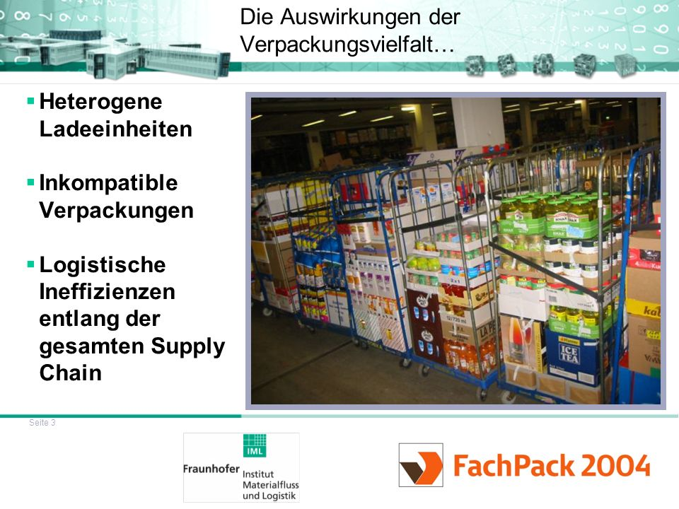 Seite 3 Die Auswirkungen der Verpackungsvielfalt… Heterogene Ladeeinheiten Inkompatible Verpackungen Logistische Ineffizienzen entlang der gesamten Su