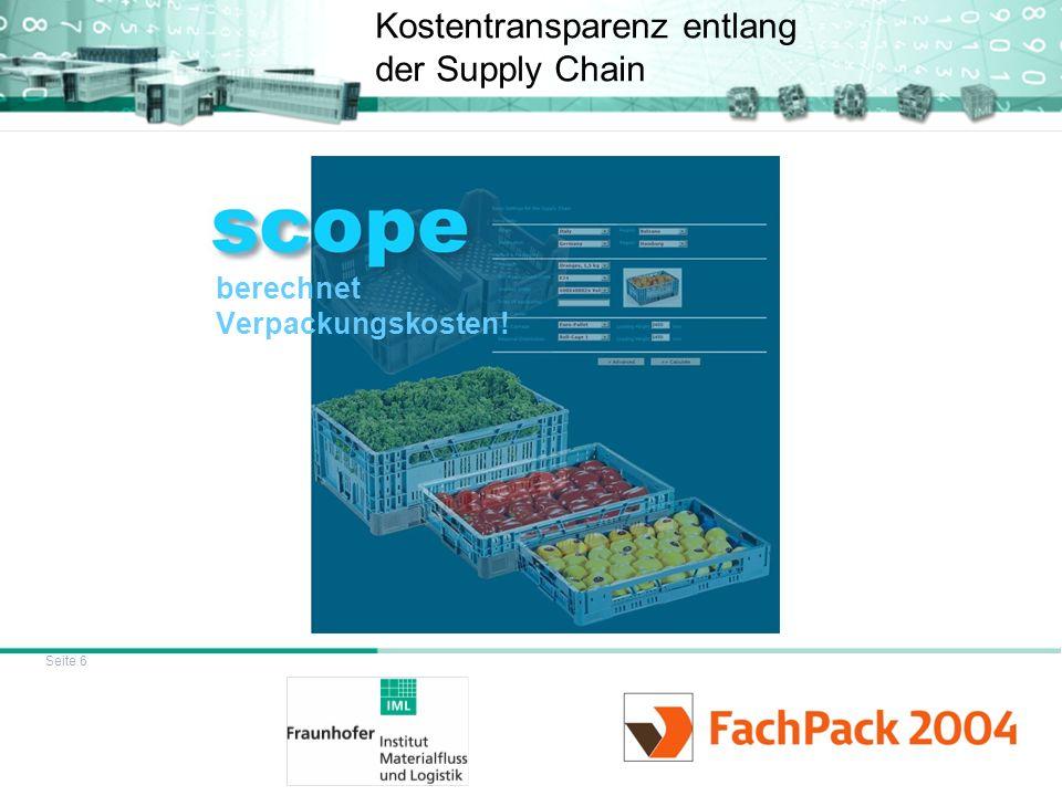 Seite 6 Kostentransparenz entlang der Supply Chain berechnet Verpackungskosten!