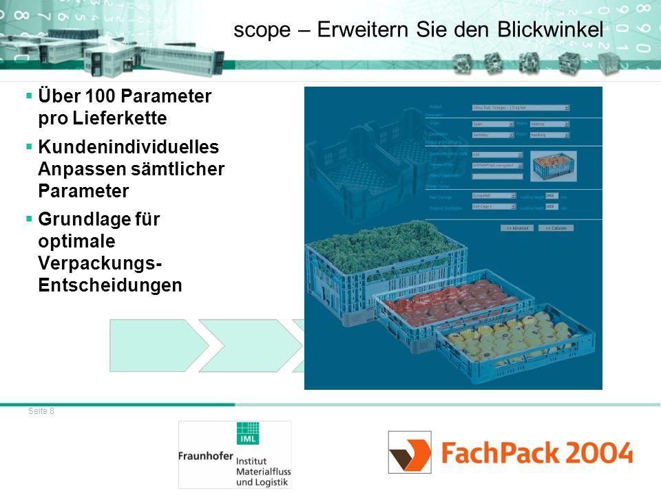 Seite 8 scope – Erweitern Sie den Blickwinkel Über 100 Parameter pro Lieferkette Kundenindividuelles Anpassen sämtlicher Parameter Grundlage für optim