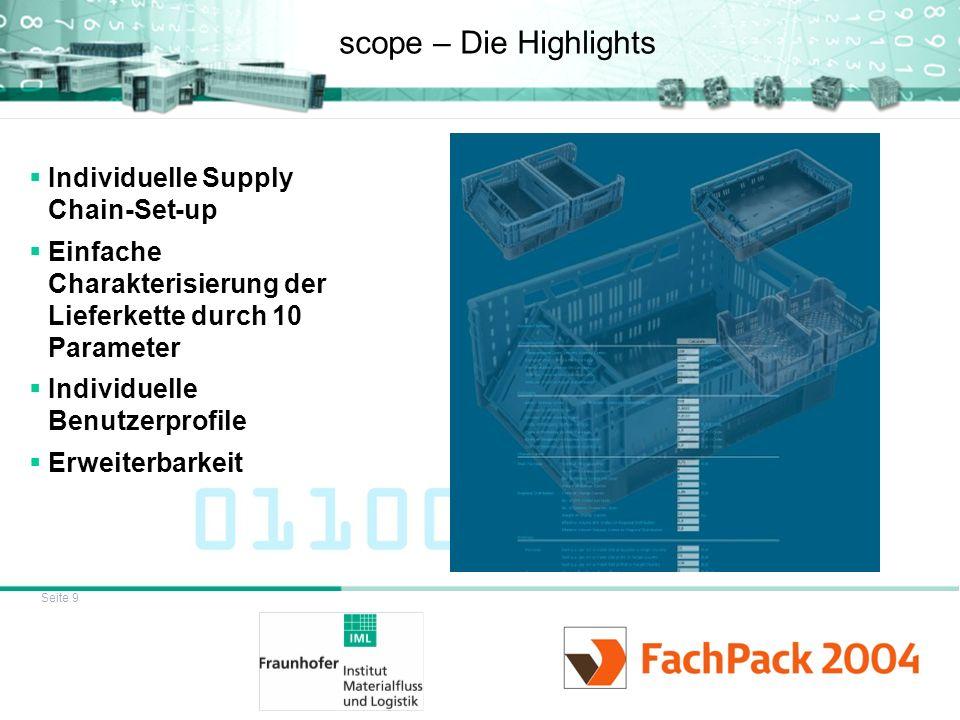 Seite 9 scope – Die Highlights Individuelle Supply Chain-Set-up Einfache Charakterisierung der Lieferkette durch 10 Parameter Individuelle Benutzerpro