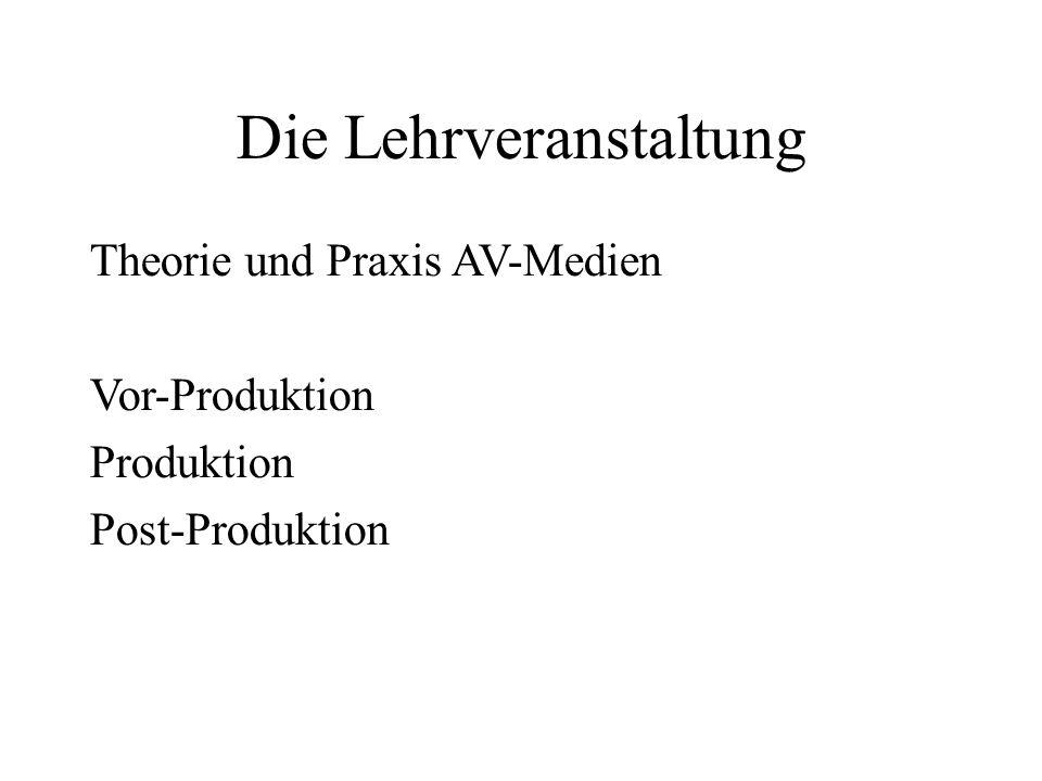 Die Lehrveranstaltung Theorie und Praxis AV-Medien Vor-Produktion Produktion Post-Produktion
