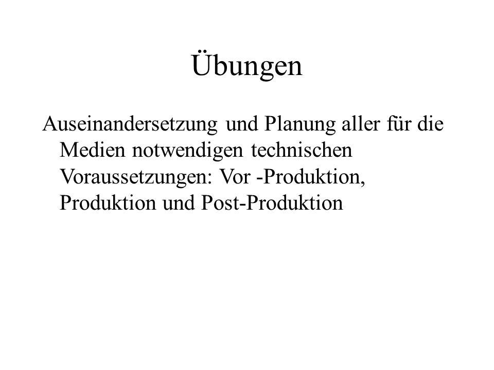 Übungen Auseinandersetzung und Planung aller für die Medien notwendigen technischen Voraussetzungen: Vor -Produktion, Produktion und Post-Produktion