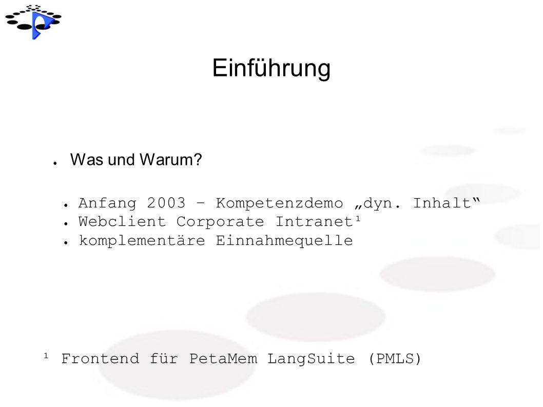 Einführung Was und Warum? Anfang 2003 – Kompetenzdemo dyn. Inhalt Webclient Corporate Intranet¹ komplementäre Einnahmequelle ¹ Frontend für PetaMem La