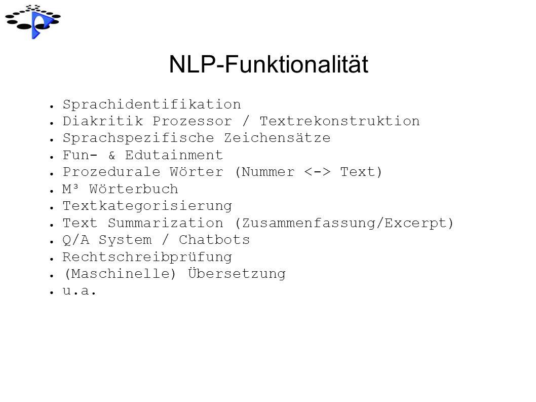 NLP-Funktionalität Sprachidentifikation Diakritik Prozessor / Textrekonstruktion Sprachspezifische Zeichensätze Fun- & Edutainment Prozedurale Wörter