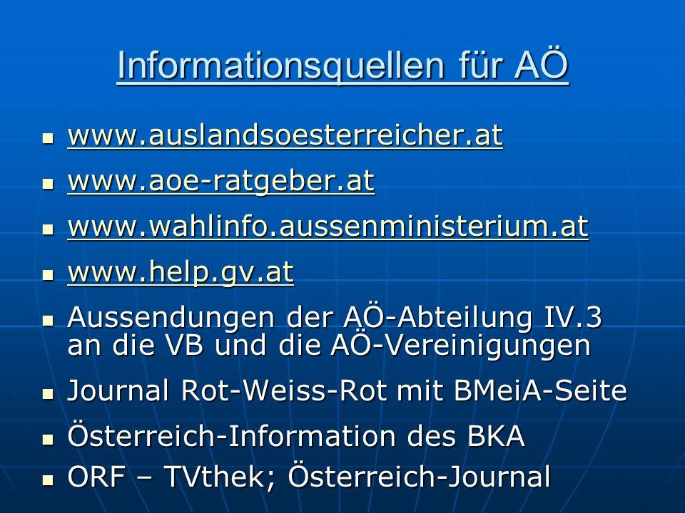Informationsquellen für AÖ www.auslandsoesterreicher.at www.auslandsoesterreicher.at www.auslandsoesterreicher.at www.aoe-ratgeber.at www.aoe-ratgeber