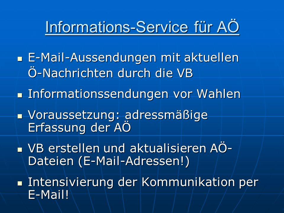 Informations-Service für AÖ E-Mail-Aussendungen mit aktuellen E-Mail-Aussendungen mit aktuellen Ö-Nachrichten durch die VB Informationssendungen vor W