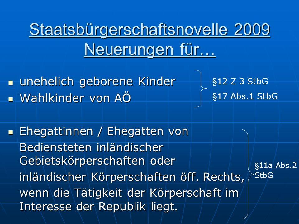 Staatsbürgerschaftsnovelle 2009 Neuerungen für… unehelich geborene Kinder unehelich geborene Kinder Wahlkinder von AÖ Wahlkinder von AÖ Ehegattinnen /