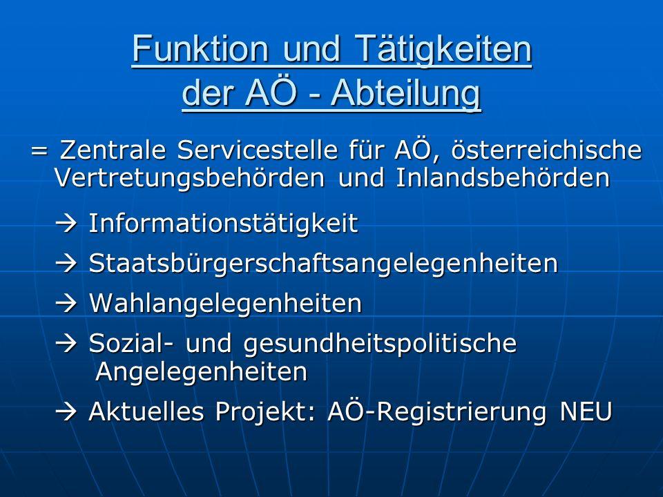 Funktion und Tätigkeiten der AÖ - Abteilung = Zentrale Servicestelle für AÖ, österreichische Vertretungsbehörden und Inlandsbehörden Informationstätig