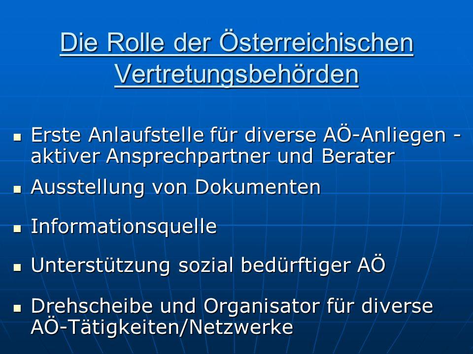 Die Rolle der Österreichischen Vertretungsbehörden Erste Anlaufstelle für diverse AÖ-Anliegen - aktiver Ansprechpartner und Berater Erste Anlaufstelle