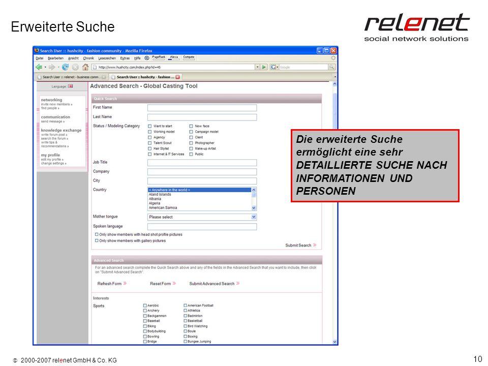 10 2000-2007 relenet GmbH & Co. KG Erweiterte Suche Die erweiterte Suche ermöglicht eine sehr DETAILLIERTE SUCHE NACH INFORMATIONEN UND PERSONEN