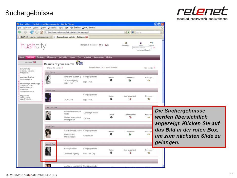 11 2000-2007 relenet GmbH & Co. KG Suchergebnisse Die Suchergebnisse werden übersichtlich angezeigt. Klicken Sie auf das Bild in der roten Box, um zum
