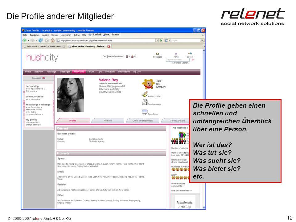 12 2000-2007 relenet GmbH & Co. KG Die Profile anderer Mitglieder Die Profile geben einen schnellen und umfangreichen Überblick über eine Person. Wer