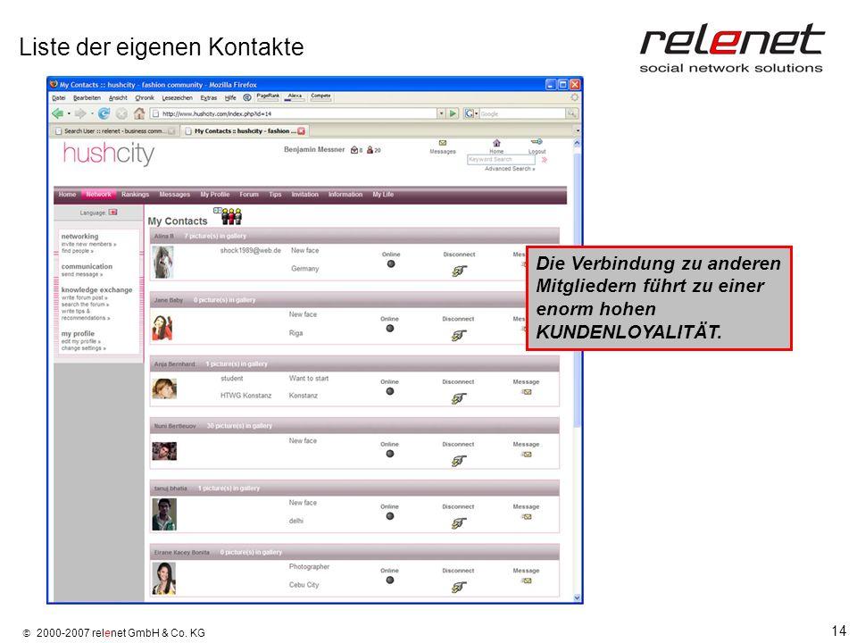 14 2000-2007 relenet GmbH & Co. KG Liste der eigenen Kontakte Die Verbindung zu anderen Mitgliedern führt zu einer enorm hohen KUNDENLOYALITÄT.