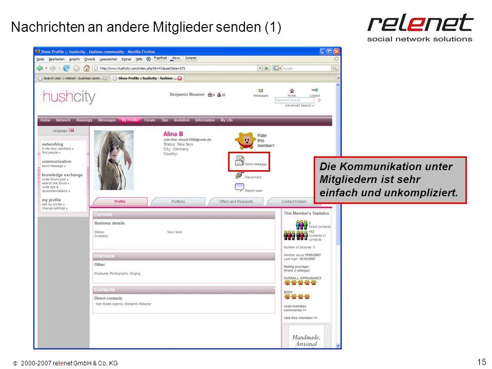 15 2000-2007 relenet GmbH & Co. KG Nachrichten an andere Mitglieder senden (1) Die Kommunikation unter Mitgliedern ist sehr einfach und unkompliziert.