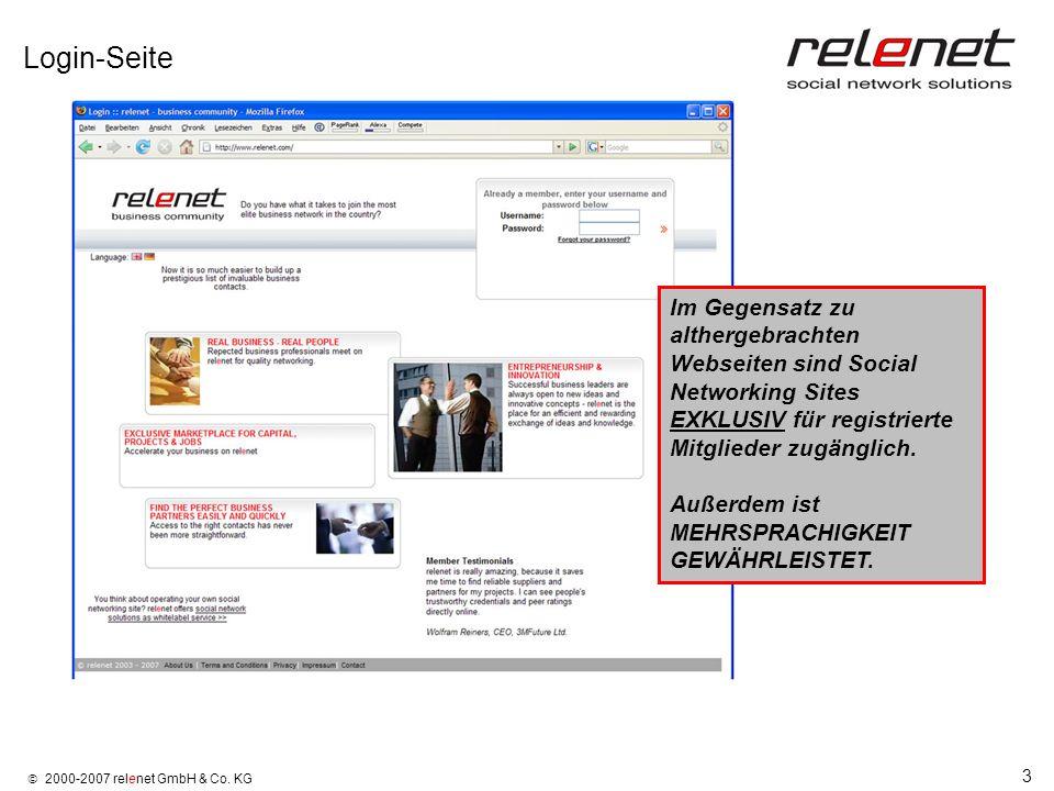 3 2000-2007 relenet GmbH & Co. KG Login-Seite Im Gegensatz zu althergebrachten Webseiten sind Social Networking Sites EXKLUSIV für registrierte Mitgli