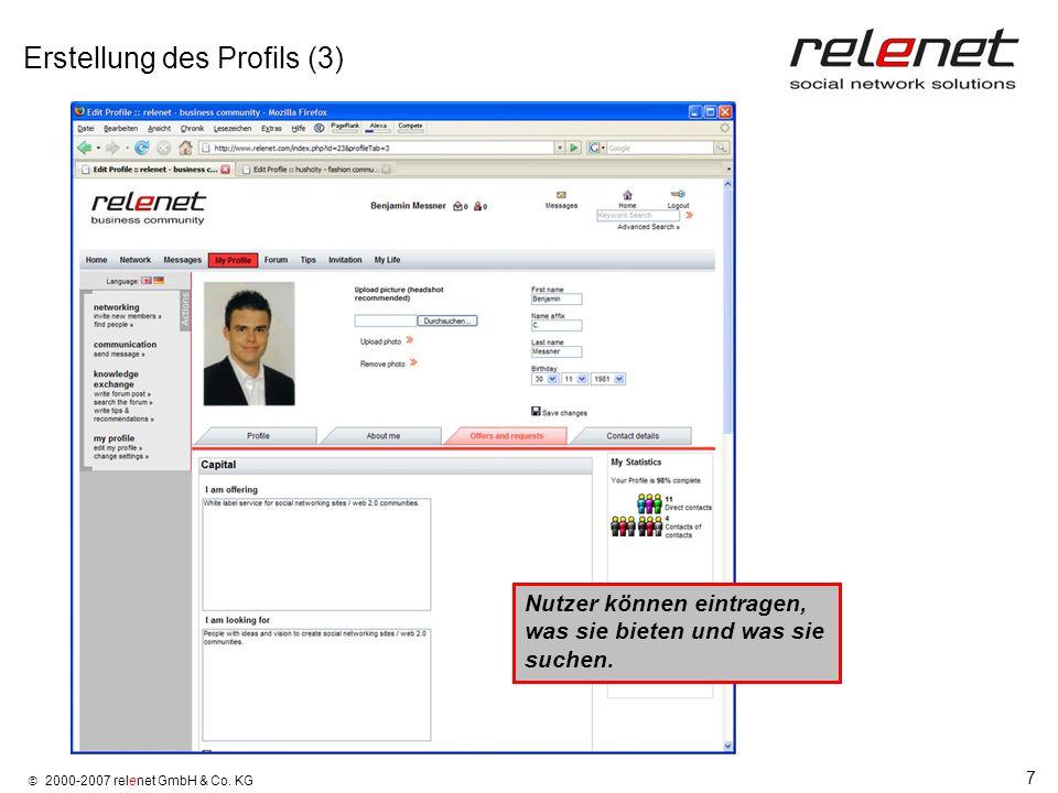 7 2000-2007 relenet GmbH & Co. KG Erstellung des Profils (3) Nutzer können eintragen, was sie bieten und was sie suchen.