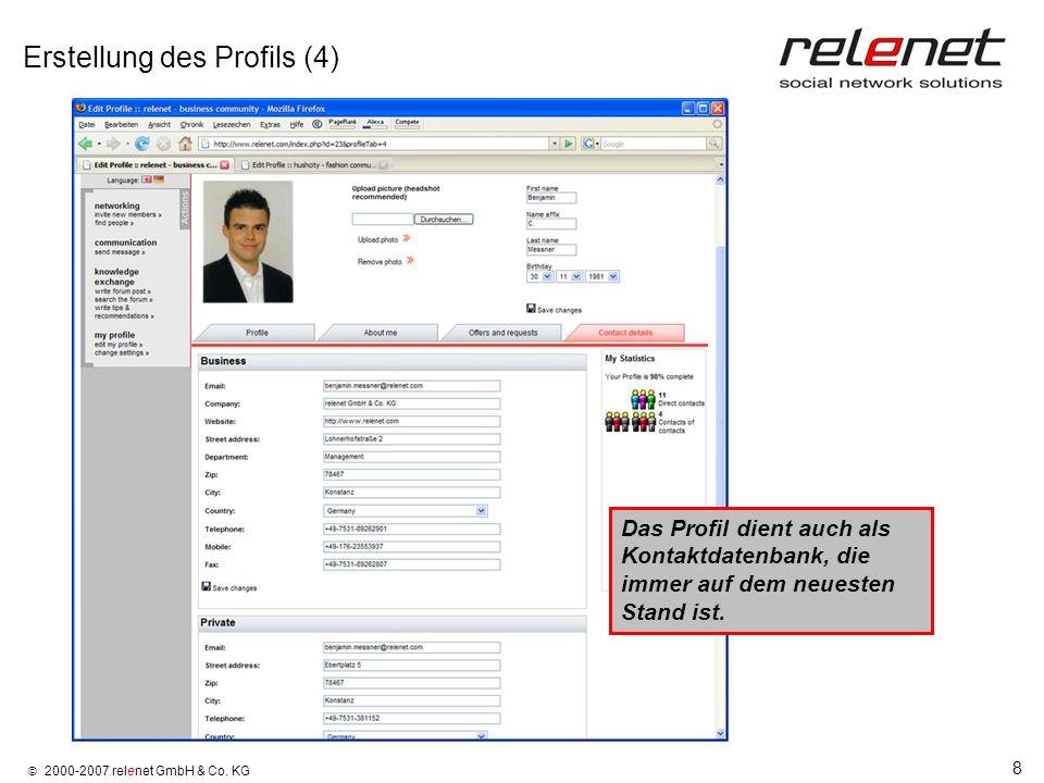 8 2000-2007 relenet GmbH & Co. KG Erstellung des Profils (4) Das Profil dient auch als Kontaktdatenbank, die immer auf dem neuesten Stand ist.