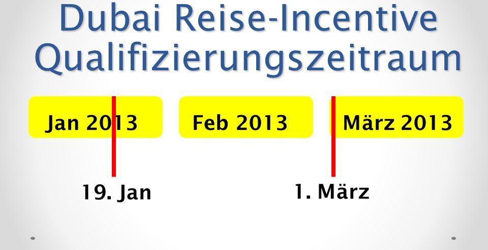 Dubai Reise-Incentive Qualifizierungszeitraum Feb 2013März 2013Jan 2013 19. Jan 1. März