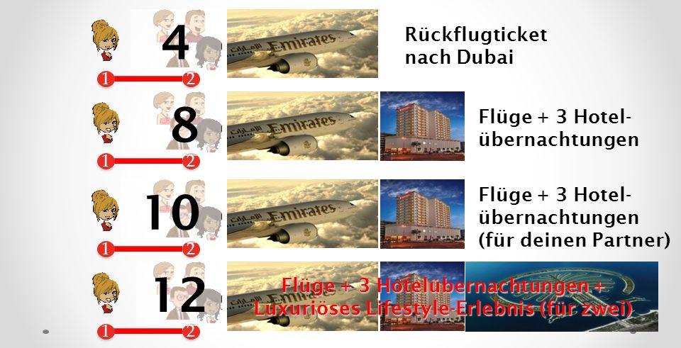 2 2 1 1 8 Flüge + 3 Hotel- übernachtungen 2 2 1 1 4 Rückflugticket nach Dubai 2 2 1 1 10 Flüge + 3 Hotel- übernachtungen (für deinen Partner) 2 2 1 1 12 Flüge + 3 Hotelübernachtungen + Luxuriöses Lifestyle-Erlebnis (für zwei)