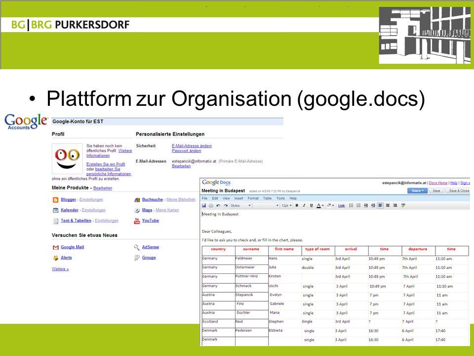 15 Plattform zur Organisation (google.docs)