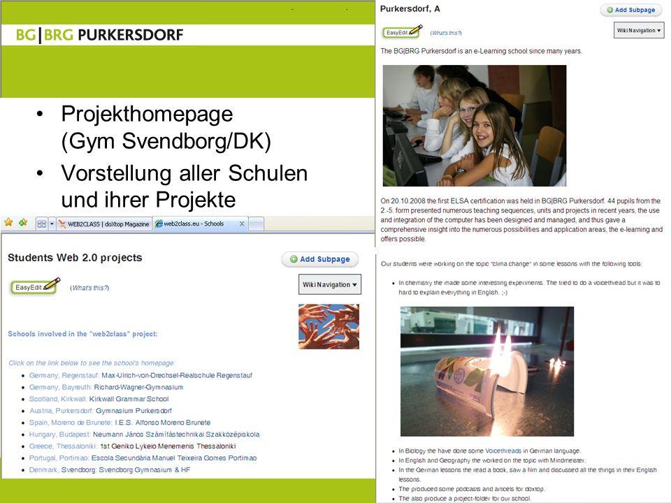 7 Projekthomepage (Gym Svendborg/DK) Vorstellung aller Schulen und ihrer Projekte
