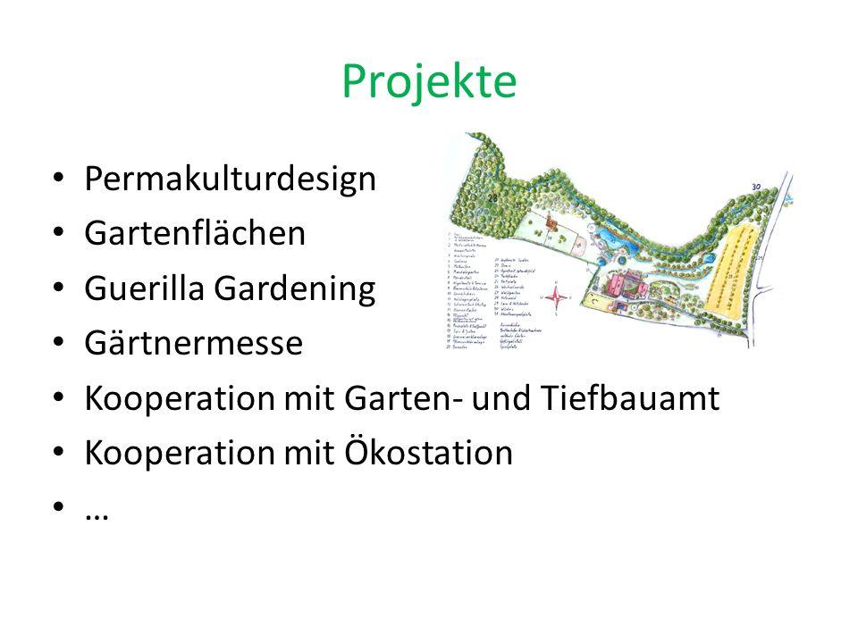 Projekte Permakulturdesign Gartenflächen Guerilla Gardening Gärtnermesse Kooperation mit Garten- und Tiefbauamt Kooperation mit Ökostation …