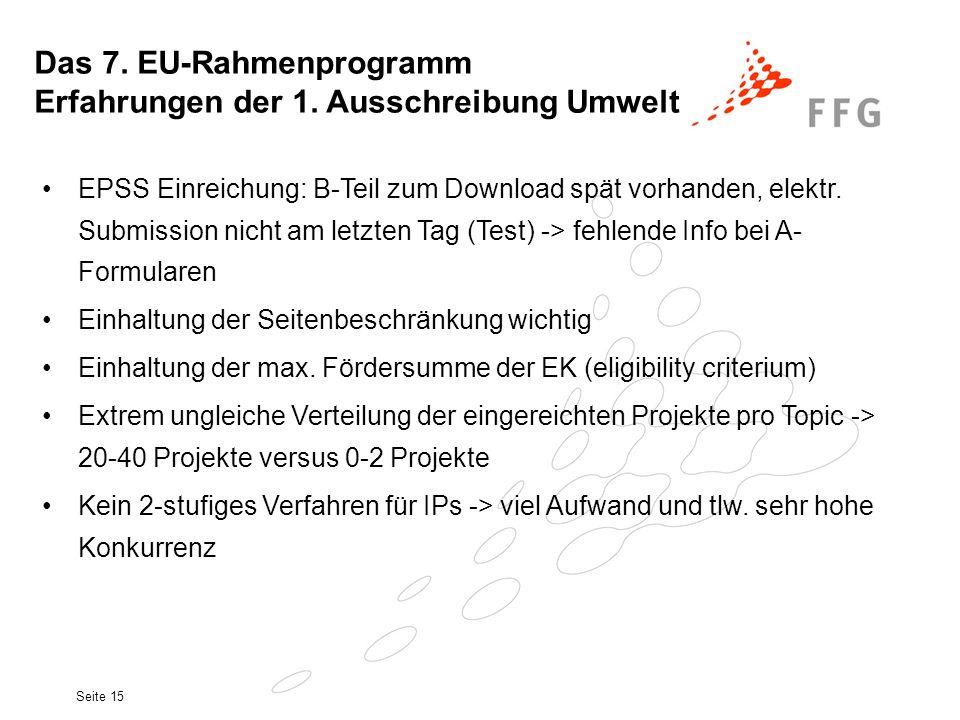 Seite 15 EPSS Einreichung: B-Teil zum Download spät vorhanden, elektr. Submission nicht am letzten Tag (Test) -> fehlende Info bei A- Formularen Einha