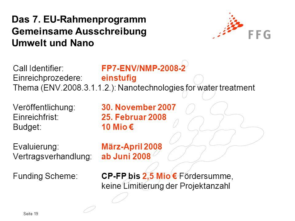 Seite 19 Call Identifier: FP7-ENV/NMP-2008-2 Einreichprozedere:einstufig Thema (ENV.2008.3.1.1.2.): Nanotechnologies for water treatment Veröffentlich