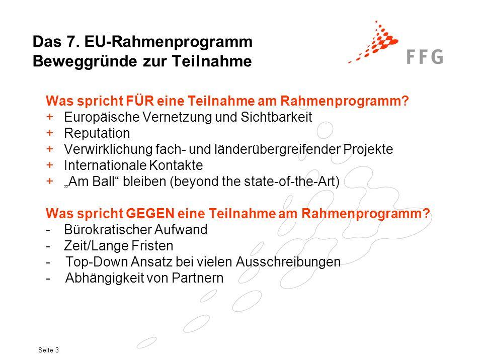 Seite 4 Das 7.EU-Rahmenprogramm Struktur und Budget (1) ´Cooperation´ 1.