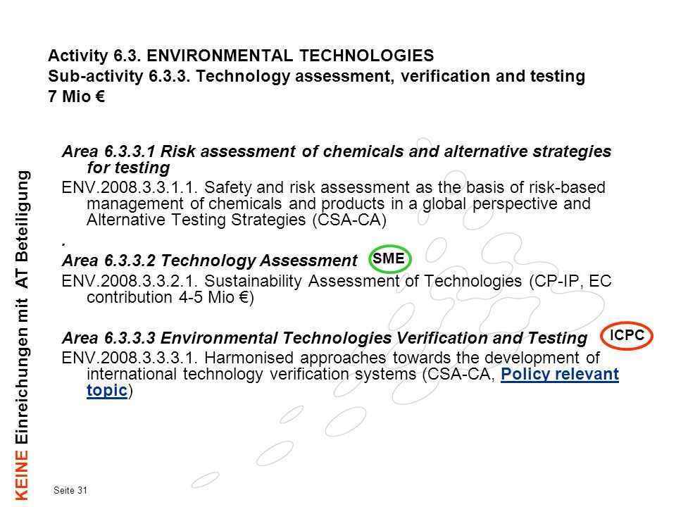 Seite 31 Activity 6.3. ENVIRONMENTAL TECHNOLOGIES Sub-activity 6.3.3. Technology assessment, verification and testing 7 Mio Area 6.3.3.1 Risk assessme