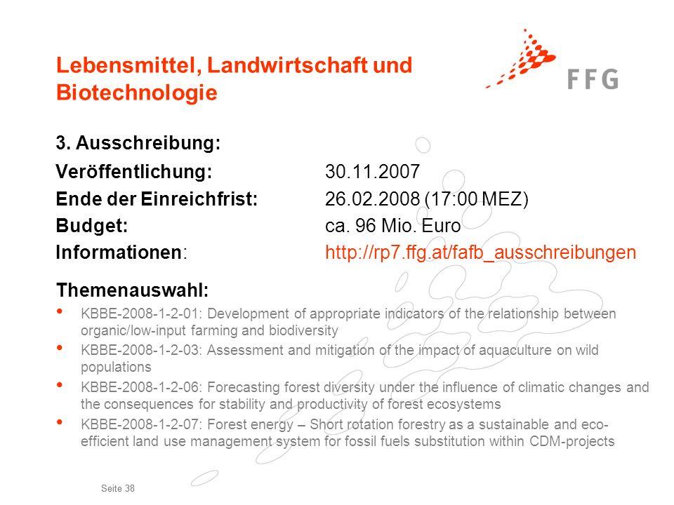 Seite 38 Lebensmittel, Landwirtschaft und Biotechnologie 3. Ausschreibung: Veröffentlichung:30.11.2007 Ende der Einreichfrist:26.02.2008 (17:00 MEZ) B