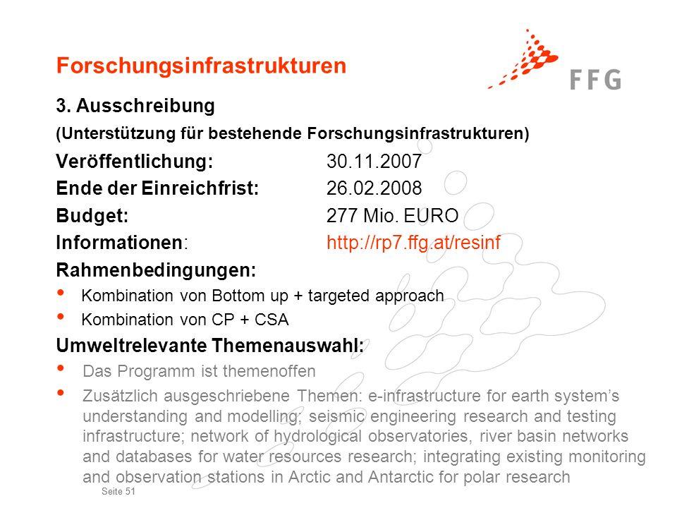 Seite 51 Forschungsinfrastrukturen 3. Ausschreibung (Unterstützung für bestehende Forschungsinfrastrukturen) Veröffentlichung:30.11.2007 Ende der Einr