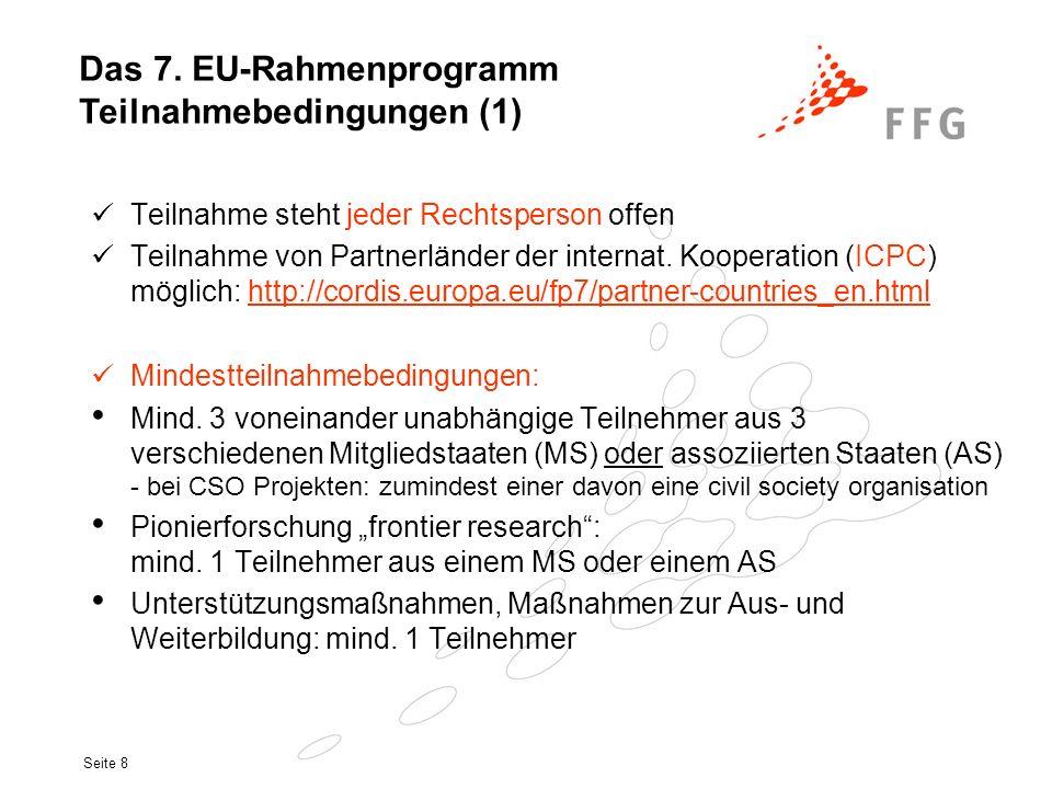 Seite 8 Teilnahme steht jeder Rechtsperson offen Teilnahme von Partnerländer der internat. Kooperation (ICPC) möglich: http://cordis.europa.eu/fp7/par