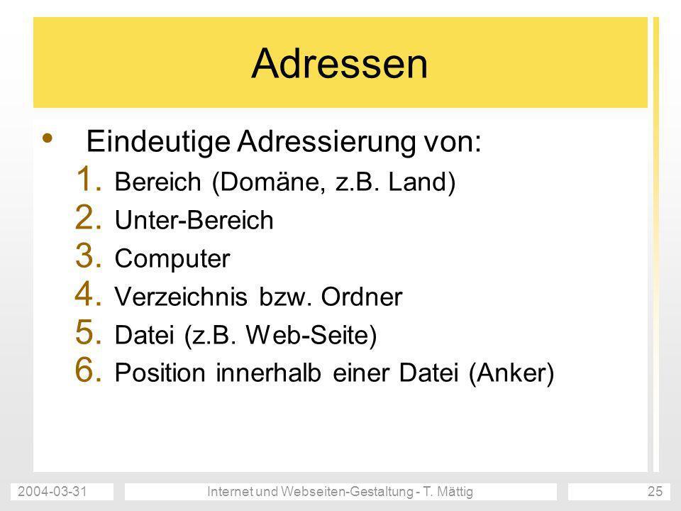 2004-03-31Internet und Webseiten-Gestaltung - T. Mättig25 Adressen Eindeutige Adressierung von: 1. Bereich (Domäne, z.B. Land) 2. Unter-Bereich 3. Com