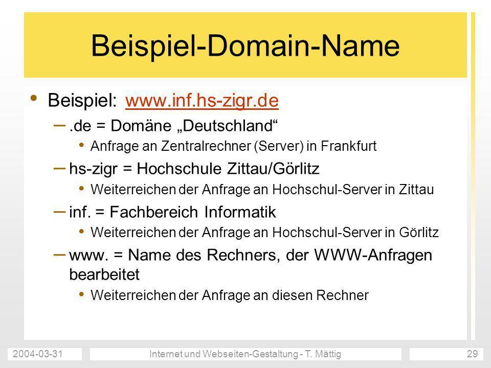 2004-03-31Internet und Webseiten-Gestaltung - T. Mättig29 Beispiel-Domain-Name Beispiel: www.inf.hs-zigr.dewww.inf.hs-zigr.de –.de = Domäne Deutschlan