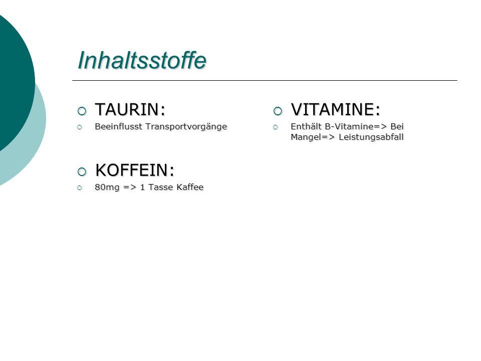 Inhaltsstoffe TAURIN: TAURIN: Beeinflusst Transportvorgänge Beeinflusst Transportvorgänge KOFFEIN: KOFFEIN: 80mg => 1 Tasse Kaffee 80mg => 1 Tasse Kaf