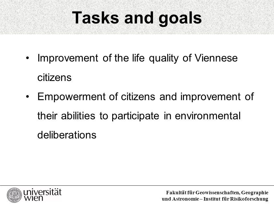 Fakultät für Geowissenschaften, Geographie und Astronomie – Institut für Risikoforschung Tasks and goals Improvement of the life quality of Viennese c