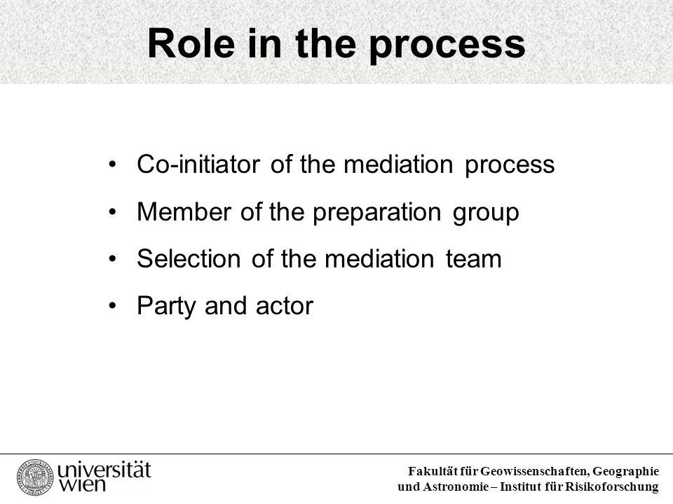Fakultät für Geowissenschaften, Geographie und Astronomie – Institut für Risikoforschung Role in the process Co-initiator of the mediation process Mem