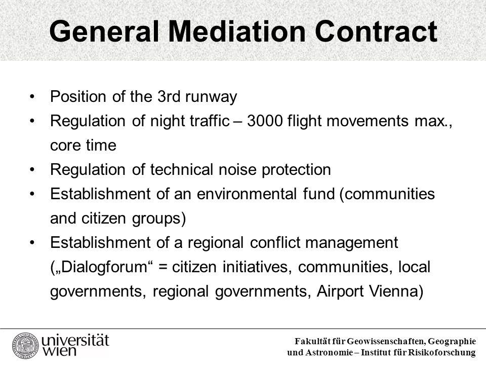Fakultät für Geowissenschaften, Geographie und Astronomie – Institut für Risikoforschung General Mediation Contract Position of the 3rd runway Regulat