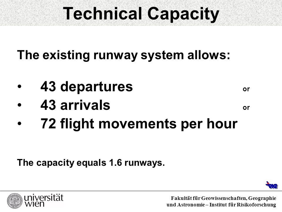 Fakultät für Geowissenschaften, Geographie und Astronomie – Institut für Risikoforschung Conclusions Without increasing the capacities: by 2007 latest amount of arrivals will exceed the existing capacity during peak hours ( increasing amount of delays).