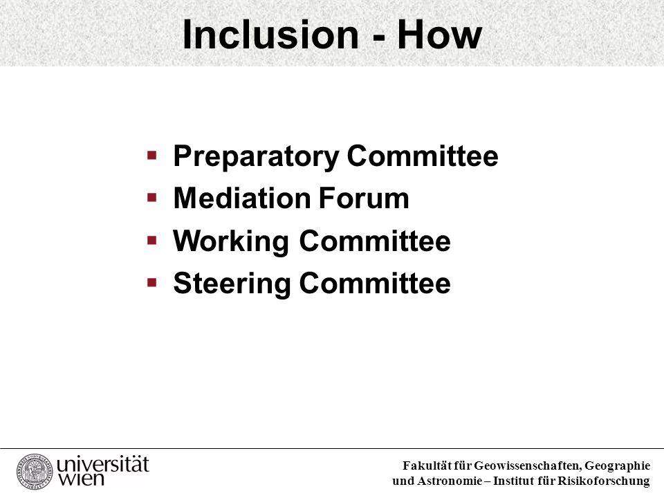 Fakultät für Geowissenschaften, Geographie und Astronomie – Institut für Risikoforschung Inclusion - How Preparatory Committee Mediation Forum Working