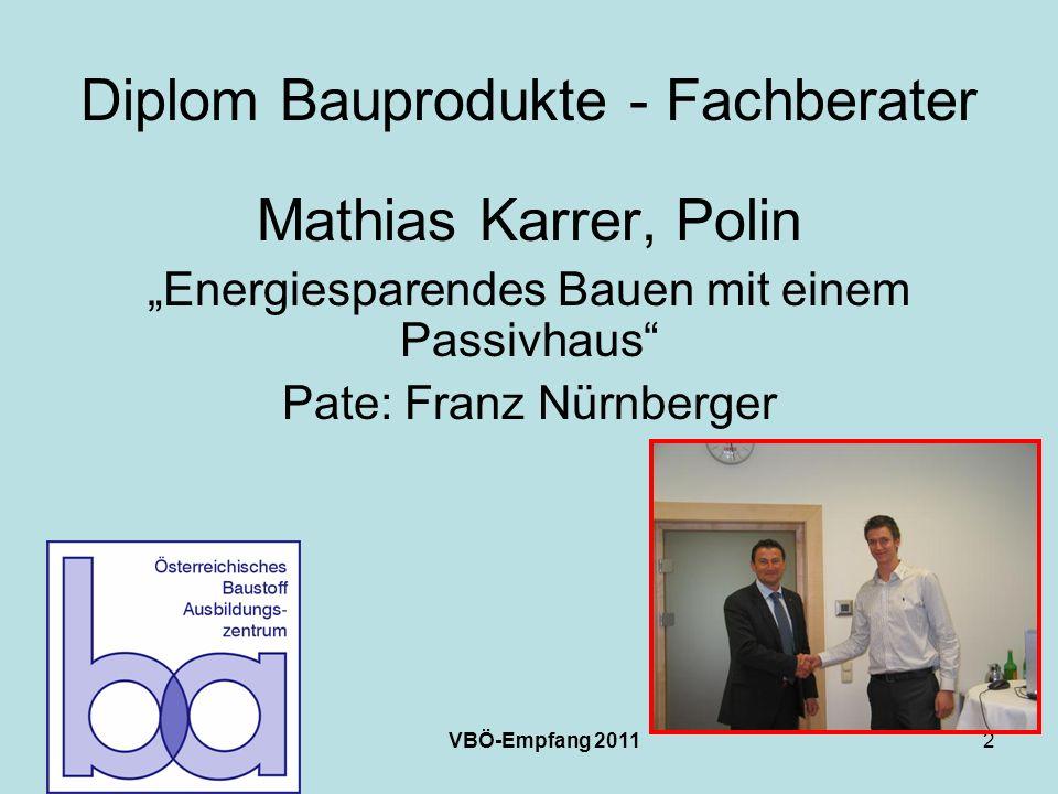 VBÖ-Empfang 20112 Diplom Bauprodukte - Fachberater Mathias Karrer, Polin Energiesparendes Bauen mit einem Passivhaus Pate: Franz Nürnberger