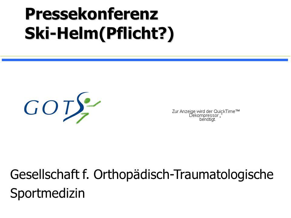 Pressekonferenz Ski-Helm(Pflicht?) Gesellschaft f. Orthopädisch-Traumatologische Sportmedizin